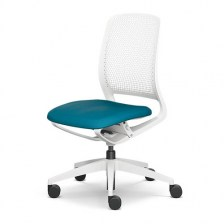 Light grey frame with blue seat pad