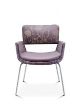 Korus armchair with silver 4 leg base