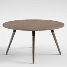 Circular Table with Dark Walnut Legs
